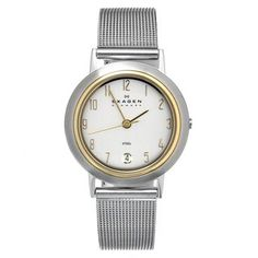 @Overstock - This stunning women's watch from Skagen features a stainless steel case, goldtone bezel and a matching silver steel mesh strap. The silver dial is home to polished goldtone hands, Arabic numerals and a date window at 6 o'clock.http://www.overstock.com/Jewelry-Watches/Skagen-Womens-Two-tone-Stainless-Steel-Watch/7516186/product.html?CID=214117 $89.99