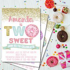 two sweet donut birthday invitation two sweet invitation