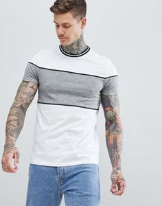 Buy ASOS DESIGN t-shirt with contrast twisted jersey panels and tipping in white at ASOS. With free delivery and return options (Ts&Cs apply), online shopping has never been so easy. Get the latest trends with ASOS now. Mens Designer Shirts, Latest Mens Fashion, Polo T Shirts, Mens Clothing Styles, Shirt Designs, Men Casual, Camisa Polo, Fashion Outfits, Darwin
