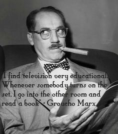 Groucho Marx: The majority of stuff in old Marx Brothers that's not yet dated are Groucho's quips and one-liners. Groucho Marx Quotes, Famous Cigars, Cuban Cigars, Joke Of The Week, Celebrities Reading, Smoking Celebrities, People Reading, Good Cigars, Actors