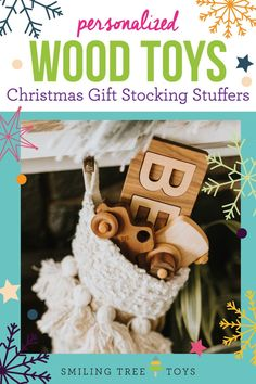 Personalized wood toys and stocking stuffers for kids. Keepsake puzzles, toy trucks, and camera imagination toys are unique gift ideas for toddlers, one year olds, and baby's first Christmas! #giftideas