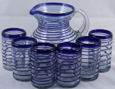 Mexican Blue Rim Spiral Clear Glass Pitcher (3 qt) with 6 Matching Glasses (16 oz) Hand Blown! http://www.ebay.com/itm/Mexican-Spiral-Glass-Pitcher-3-qt-w-6-Matching-Glasses-16-oz-Hand-Blown-/321476108733?ssPageName=STRK:MESE:IT