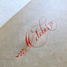 Video of Suzanne Cunningham creating this flourished version of October with vermilion sumi ink. Copperplate Calligraphy, Calligraphy Words, How To Write Calligraphy, Calligraphy Alphabet, Typography Letters, Caligraphy, Modern Calligraphy, Penmanship, Hand Lettering Fonts