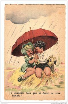 Illustraeur Janser - COUPLE D´ ENFANTS Sous Un Parapluie - CHILDREN Under An UMBRELLA - Ed. Superluxe, Paris