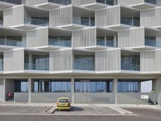 There are lots of design apartment building facade architecture that you can see here. This facade design are awesome contemporary and amazing. Architecture Origami, Plans Architecture, Hotel Architecture, Residential Architecture, Contemporary Architecture, Architecture Design Concept, Facade Design, Building Facade, Building Design