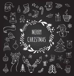 Christmas Sketch, Christmas Doodles, Christmas Poster, Christmas Drawing, Christmas Cards To Make, Christmas Snow Globes, Christmas Deco, Christmas Crafts, Chalkboard Doodles