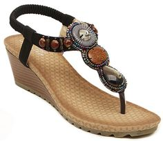 IDIFU Women's Ethnic Boho Beaded Mid Wedge Thong Sandals Open Toe Slingback Beach Shoes Black 7.5 B(M) US. Heel measurement: about 2.4 inch; Comfortable and soft for you to wear. Retro beaded and rhinestones decorated; Open toe, low cut, wedge and slingback design. Durable, breathable and anti-skid; Comfortable and soft for you to wear. Suitable for summer, beach and holiday; A good gift for your better half and good friends. Fitted with any other charming outfits; Classic, casual…