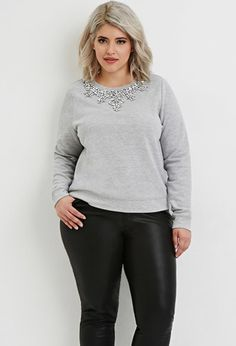 35b32d2657a Plus Size Sequined French Terry Pullover
