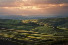 "sunset on ""crete Senesi"" - null"
