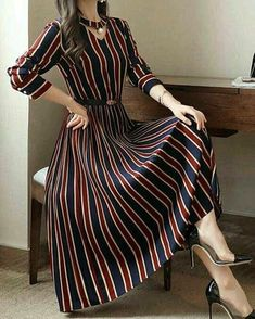 Round Neck Cutout Vertical Striped Belt Midi Skater Dress The best thing about the Outfit Ideas for Women over 35 is that they are going to be of use even when you become 40 something. The grace and kind of panache Cute Dresses, Casual Dresses, Fashion Dresses, Maxi Dresses, Woman Dresses, Midi Skirts, Evening Dresses, Cheap Dresses, Hijab Casual