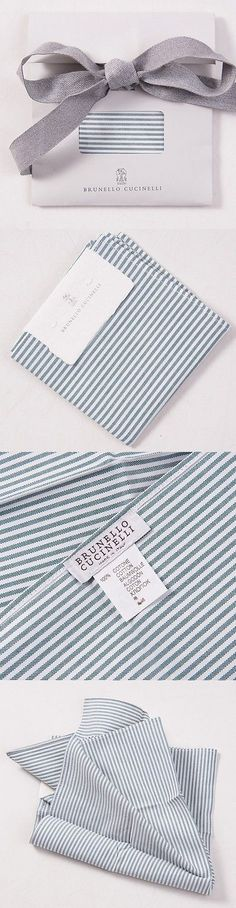 Handkerchiefs 167902: Nwt $150 Brunello Cucinelli Green Oxford Stripe Pocket Square Gift Package -> BUY IT NOW ONLY: $69 on eBay!