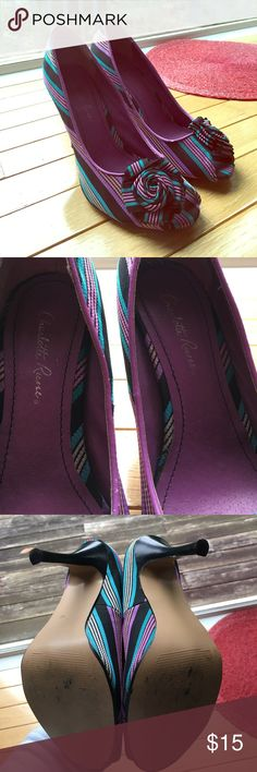 Charlotte Russe striped heels (7) Charlotte Russe striped heels with a matching striped fabric rose. Size 7, great condition. See photos Charlotte Russe Shoes Heels