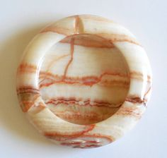 3A Rustic Brown Banded Stone Ashtray Onyx 5 inch Round Ashtray