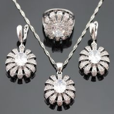 Flower Women Silver Color Jewelry Sets White Cubic Zirconia  Necklace Pendant Earrings Rings Christmas Free Gift Box
