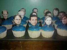 """The Office"" Party Food: Staff faces cupcake toppers. Find pictures of each office worker and place them onto a Word document. Adjust them to equal size. Print then cut out each face and tape or glue tooth picks to the back. Stick toppers into cupcakes with blue icing for Dunder Mifflin."