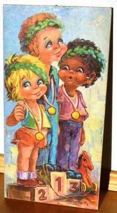 MAGDA K. * BIG EYES Große Augen * ART KUNST Bild auf Holz Druck * 60-70er Jahre
