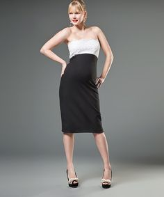 Black & White Lace Maternity Strapless Dress