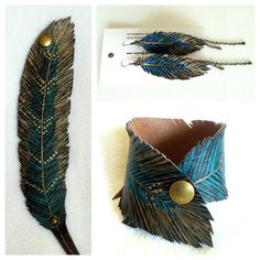 Feather Bracelet Earring Set, Gold Turquoise Feather Cuff Faux Leather Hand Painted, SAVE Get a Set. $35.00, via Etsy.