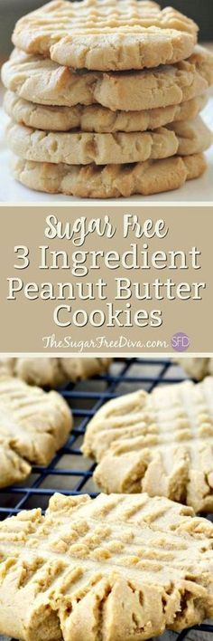 Hey- check out these cookies. The recipe for these peanut butter cookies has only three ingredients in it. You should see what those ingredients are in these peanut butter cookies that are a great snack or dessert. They are also gluten and sugar free. Diabetic Friendly Desserts, Low Carb Desserts, Diabetic Recipes, Low Carb Recipes, Diabetic Sweets, Diabetic Foods, Meal Recipes, Recipes Dinner, Appetizer Recipes