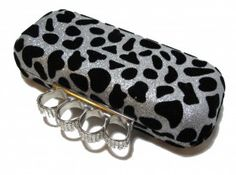 Brass Knuckles Handle Silver with Black Velvet Flocked Animal Print 7 Inches x 3 Inches Hard Exterior Removable 10 Inch Silver Chain Purse Wallet, Coin Purse, Brass Knuckles, Satchels, Purses And Bags, Sunglasses Case, Wallets, Chain, My Style