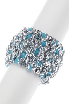 Morgan Ashleigh chainlink with glass bracelet