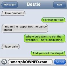I love eminem - funny text - http://www.jokideo.com/