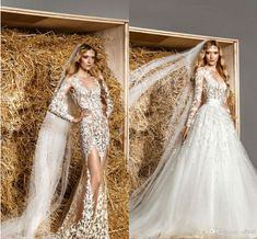 Cheap dress and jacket for wedding, Buy Quality wedding dresses off shoulder sleeves directly from China wedding dress ups Suppliers:   2015 zuhair murad wedding dresses sexy sheer lace top detachable skirt wedding dress with long sleeves