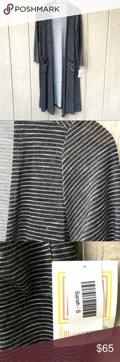 LuLaRoe Sarah cardigan Dark grey and white striped Sarah long cardigan from LuLaRoe. So soft! Never worn, new with tag. LuLaRoe Tops