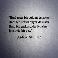 Hani ıssız bir yoldan geçerken Hani bir korku duyar da insan Hani bir şarkı söyler içinden İşte öyle bir şey - Çiğdem Talu, 1976