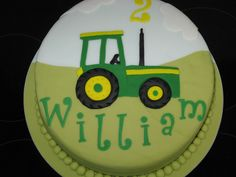 Tractor Made for a friends little boy who is mad about tractors Tractor Birthday Cakes, Tractor Cakes, Tractors For Kids, Fondant, Farm Cake, Cakes For Boys, Pastel, 2nd Birthday, Birthday Ideas