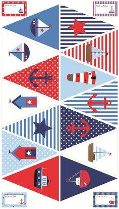 Ideas for baby shower decoracion marinero birthday party ideas Nautical Bunting, Nautical Party, Bunting Flags, Buntings, Sailor Party, Sailor Theme, Sailor Birthday, Baby Shower Marinero, Baby Boy Shower