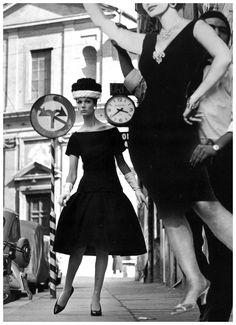 Simone in dress by Fabiani, photo by William Klein, Rome, 1960 .. www.fashion.net