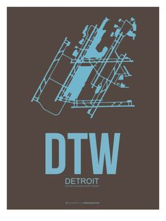 Dtw Detroit Poster 1 Print by NaxArt at AllPosters.com