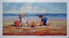 """12"""" by 24"""" - Children playing at the beach - Nr.306 - Museum Quality Oil Painting on Canvas Art by Artseasy"""