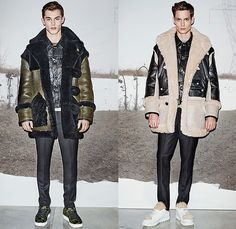 Coach 2015-2016 Fall Autumn Winter Mens Runway Catwalk Looks - London Collections: Men British Fashion Council UK United Kingdom - Outerwear Coat Shearling Leather Tote Camo Camouflage Parka Hoodie Furry Bomber Field Jacket Jeans Vest Sneakers Pants Trousers Bag Beanie Knit Cap Crossbody Multi-Panel Cargo Pockets Backpack Waistcoat