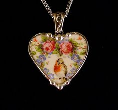 Broken china jewelry heart pendant by Dishfunctional Designs. Made from a broken plate
