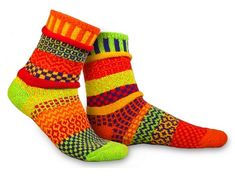 "Perfect couples, soul mates, are perfectly mismatched - just like these socks!  Solmate socks are knit from recycled cotton and come in a variety of vibrant colors and patterns. Show your vibrant fun side when relaxing and feel great for doing your small, comfortable part to help the environment. Solmate socks are made in the USA in Vermont.  ""Life is too short for matching socks"""