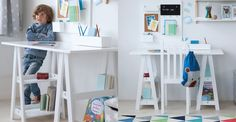 A sturdy, contemporary kids' desk with cool, trestle legs that double up as useful shelving.