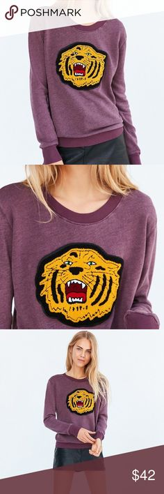 Deep dye tiger purple sweater XS Brand new with tags. Super comfy and cute. 🌷 Urban Outfitters Sweaters Crew & Scoop Necks