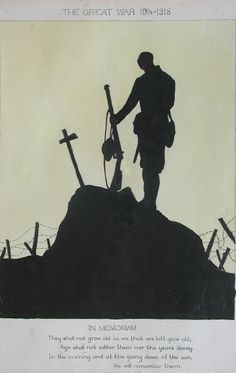 Art: Detail | David Cohen Fine Art - Art of the First World War - 1914-1918 Silhouette Art, Soldier Silhouette, Silhouette Tattoos, Military Art, Military History, World War One, First World, Remembrance Day Art, Ww1 Art