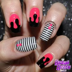 dramaqueennails:  Drrrrrrip!! Yes the striping tape took ages but it was worth it right? #nails #nailart #aussienails