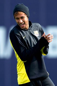 Neymar of FC Barcelona smiles during a training session ahead the UEFA Champions League quarter-final second Leg match against Manchester City at the Sant Joan Despi Sport Complex on March 11, 2014 in Barcelona, Catalonia.