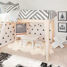 Designer Spotlight of one of our favorite boys room designed by @oilostudio for @caraloren we love how they styled the play area underneath the bed with our black triangle decals.