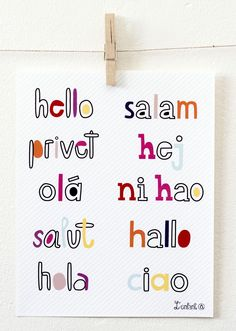 Hello 8x10 typography print with hello in different languages hello in different languages childrens print available at ateliernomad stopboris Images