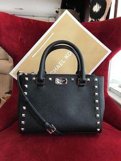 7b9b4d89fffc Nwt michael kors saffiano leather kellen studded xs satchel bag in  black/silver
