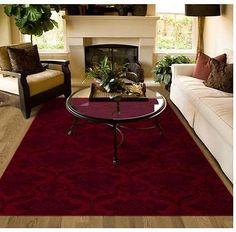 Area Rug Carpet Burgundy Red Pattern Lounge Dining Bedroom Living Room Family