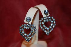 VINTAGE DOUBLE HEART LIGHT BLUE CRYSTAL DANGLE CLIP EARRINGS IN SILVERPLATE