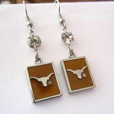 Jewelry Themed Earrings Collegiate Texas Longhorns Chrome Dangle Earrings