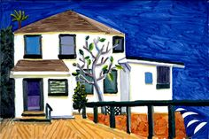 Malibu House, 1988 oil on canvas, 24x36 in - David Hockney