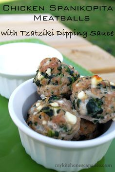 Chicken Spanikopita Meatballs with Tzatziki Dipping Sauce- grain free, gluten free, low carb, hCG Diet (Low Carb Dinner Meatballs) Hcg Recipes, Greek Recipes, Cooking Recipes, Healthy Recipes, Sauce Recipes, Low Carb Burger, My Burger, Quick Weeknight Dinners, Freezer Meals